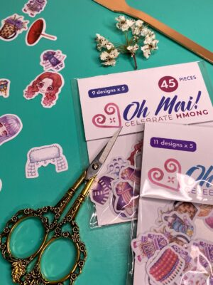 Oh Mai! Hmong Mix and Match Dress Up Doll Stickers (Set 2) | Washi Stationary Decoration